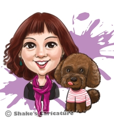 single caricature with pet