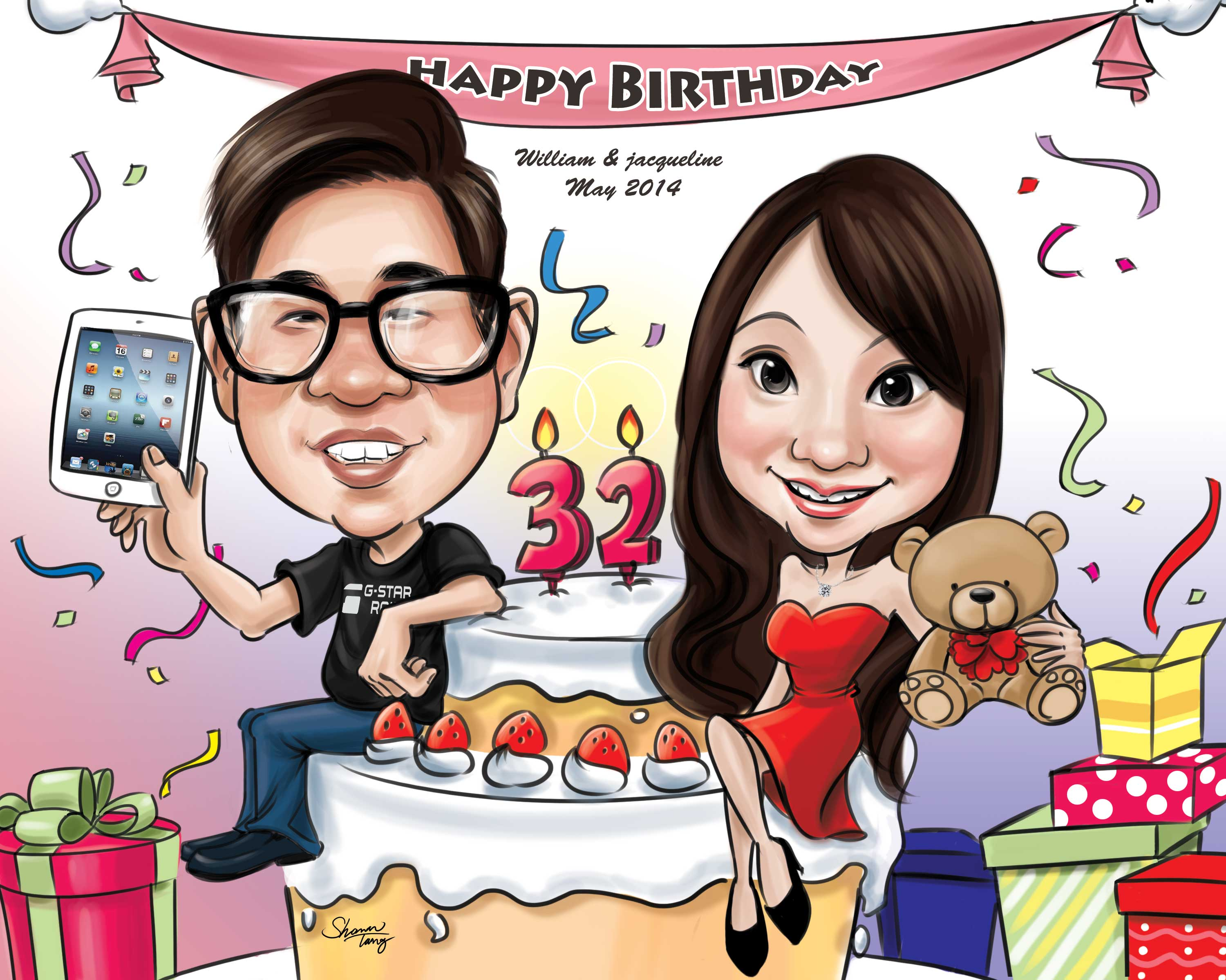Birthday Caricature Gift Couple