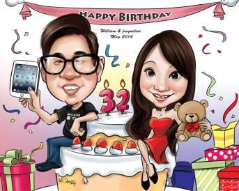 Birthday Caricature Gift Couple