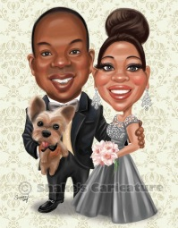 couple_ wedding caricature_ portrait with pet_ dog