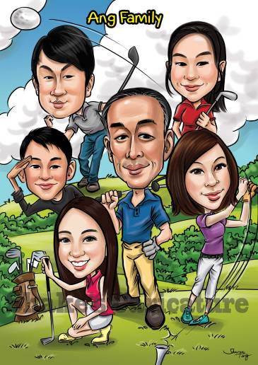 Rykiel_Family Caricature_Golf