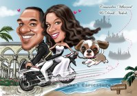 wedding caricature_ save the date_ with pet_ dog_ bike