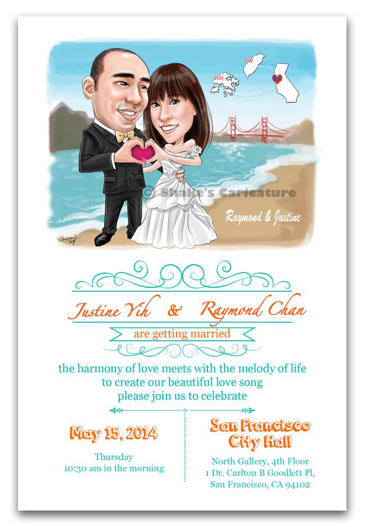 wedding invitation caricature couple portrait san francisco