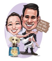 Wedding portrait_ Caricature_ with pets_ doggie_ dog_ proposed