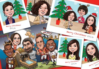 Caricature _ Merry Christmas and Happy New Year