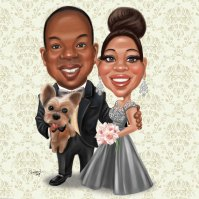 Couple Caricature _ Wedding _ with pets