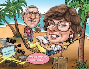 Couple Caricature _ Retirement_ Summer