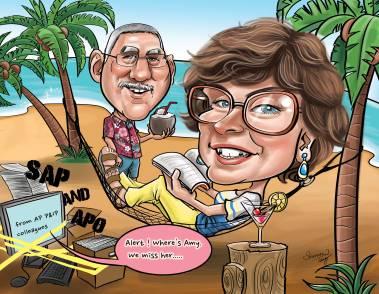 Couple Caricature _ Retirement_ Summer