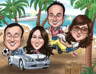 beach caricature_ Family Caricature