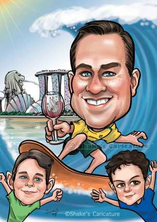 Father and sons_ surfing caricature