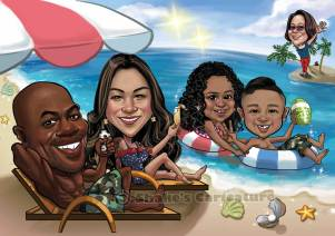 Summer Beach_ Family Caricature_ Hawaii