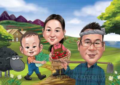 Farmers_ Family Caricature