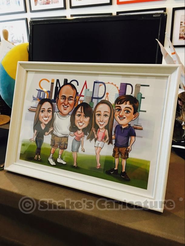 Singapore caricature_Singapore skyline_family caricature_farewell gift3