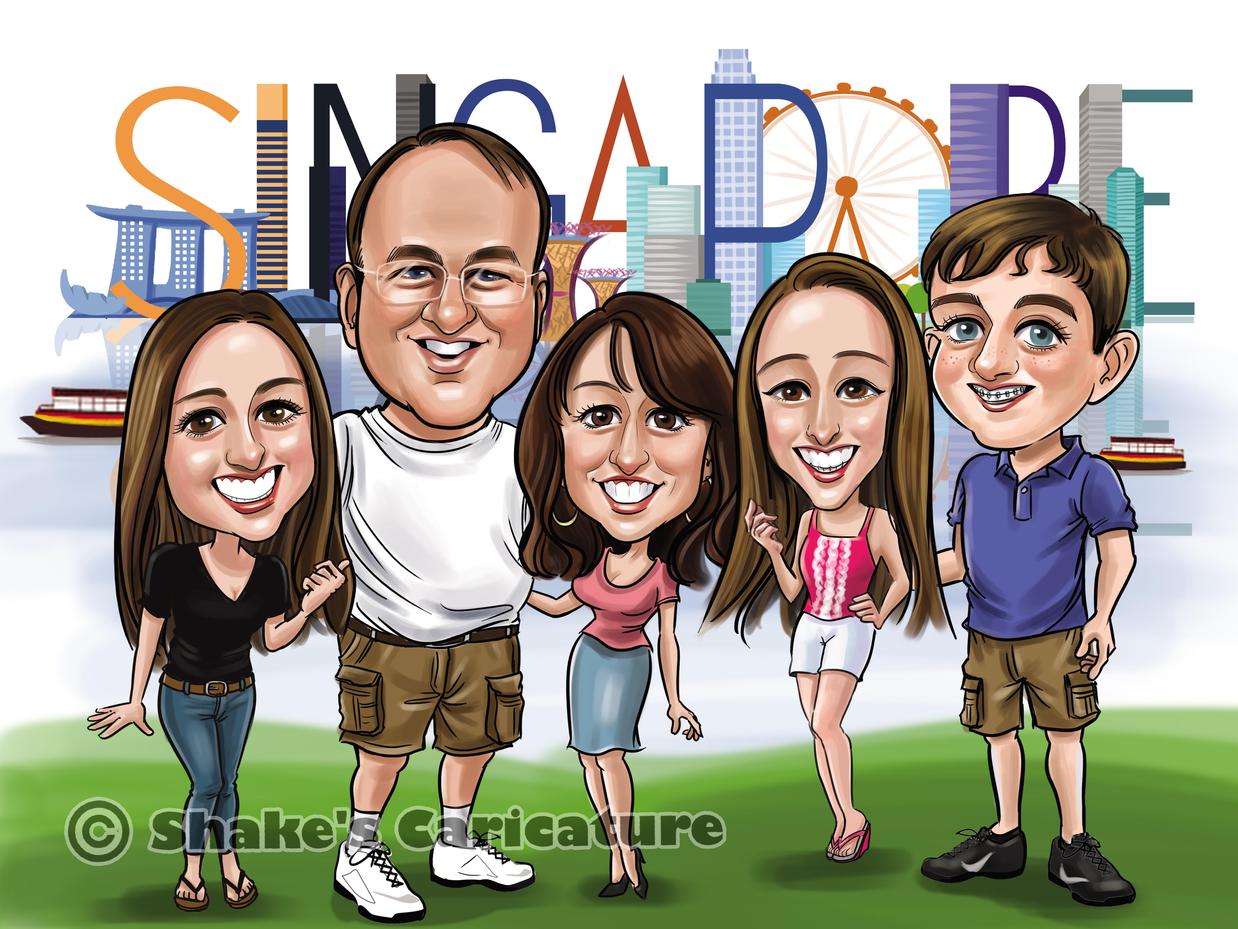 Singapore caricature_Singapore skyline_family caricature_farewell gift2