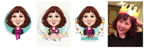 Caricatures with different backgrounds